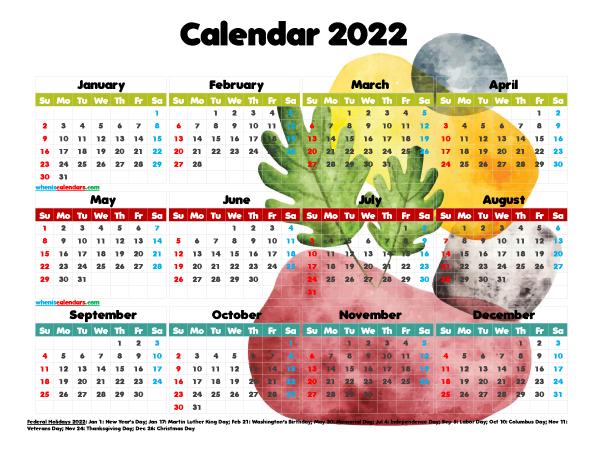 Free Printable 2022 Calendar with Holidays PDF