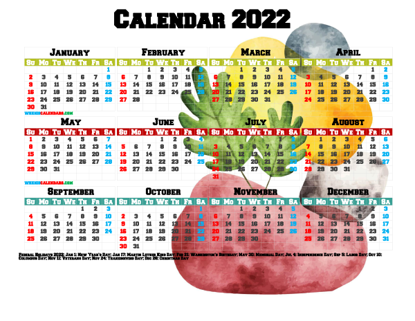 Printable 2022 Yearly Calendar with Holidays