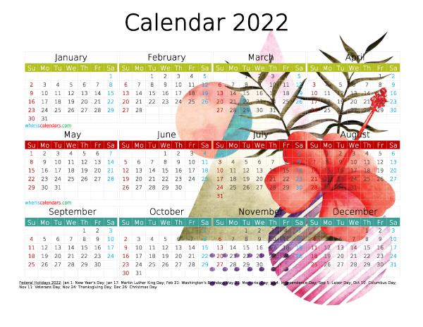 Free 2022 Printable Calendar PDF