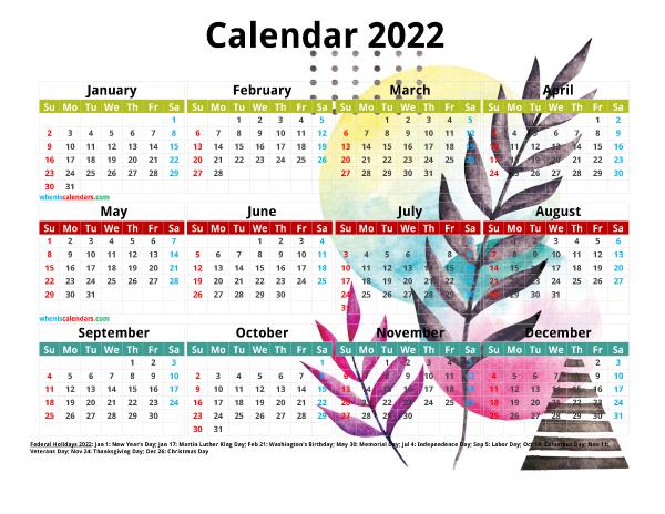 Free 2022 Printable Yearly Calendar