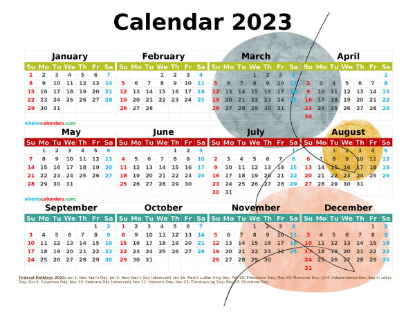 Printable Yearly 2023 Calendar with Holidays