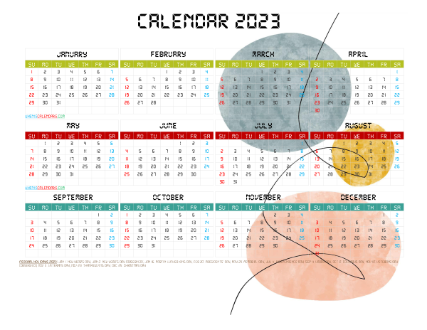 Free 2023 Printable Yearly Calendar