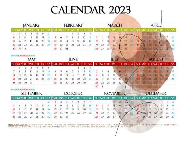 2023 Free Printable Yearly Calendar