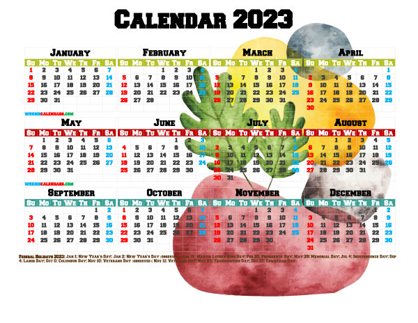 Printable 2023 Yearly Calendar with Holidays