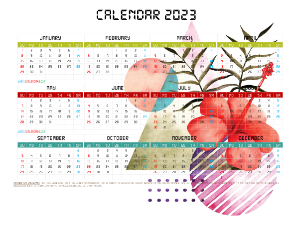 Free Printable 2023 Calendar with Holidays PDF