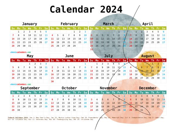 2024 Calendar with Holidays Free Printable