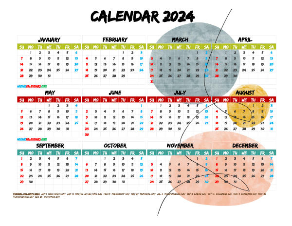 Free Printable 2024 Calendar with Holidays PDF