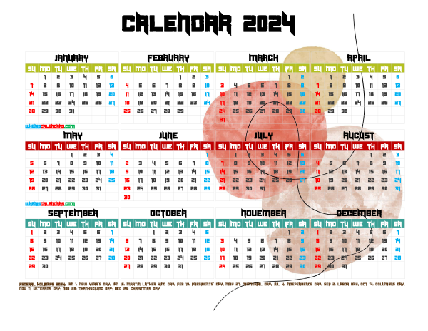 Printable Yearly 2024 Calendar with Holidays