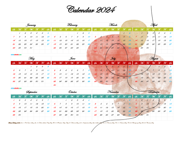2024 Calendar with Holidays Free Printable