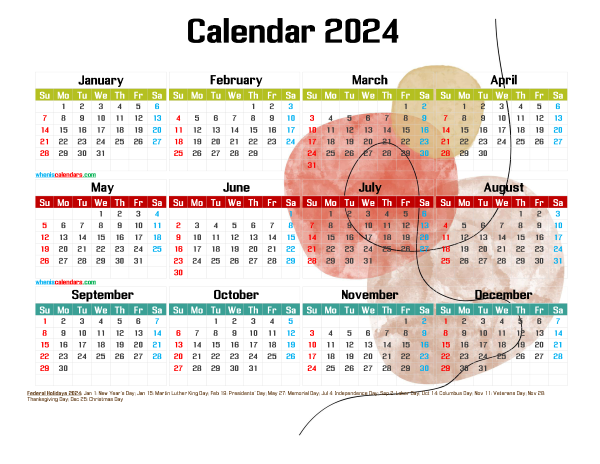 2024 Free Printable Yearly Calendar