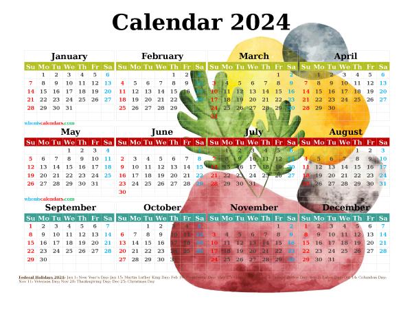 2024 Free Printable Yearly Calendar