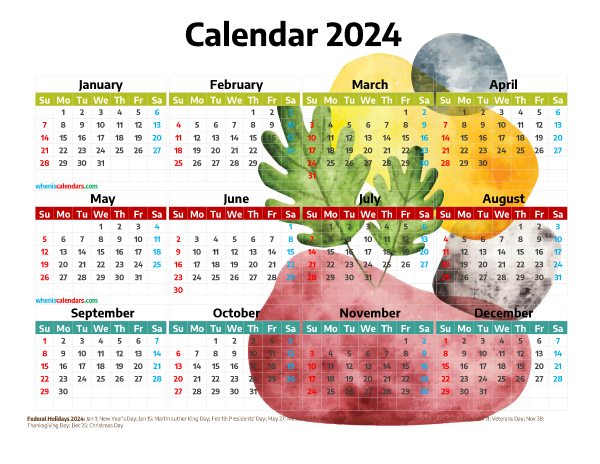 Free 2024 Printable Yearly Calendar