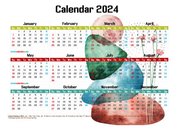 Free 2024 Printable Calendar PDF
