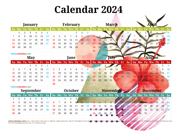 Free Printable 2024 Calendar with Holidays