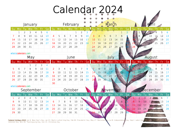 Printable 2024 Yearly Calendar with Holidays