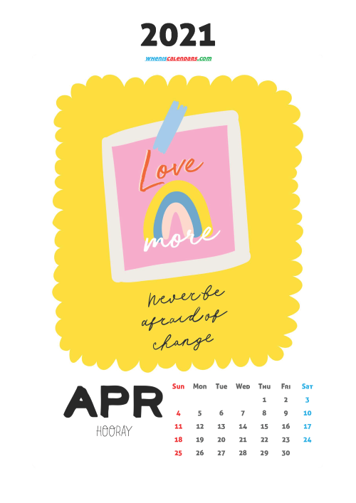 Cute Calendar Printable April 2021
