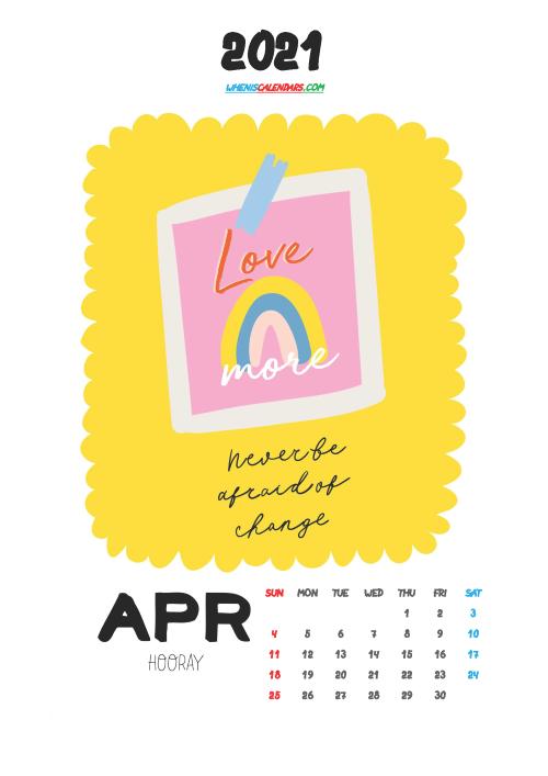Free April 2021 Calendar for Kids Printable
