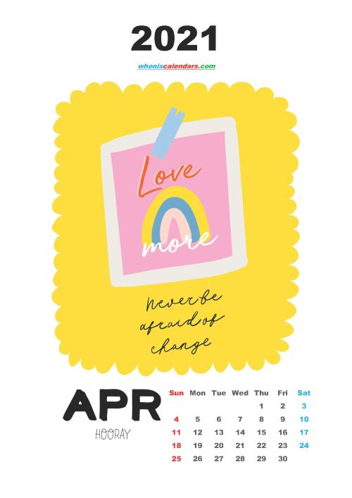 Free April 2021 Cute Calendar