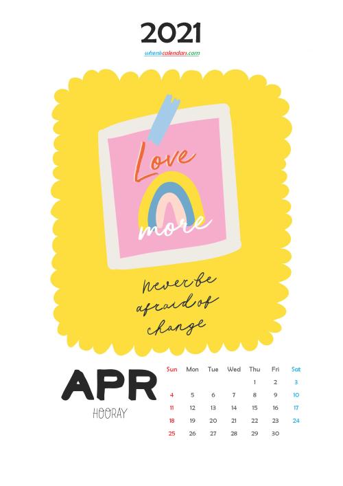 April 2021 Cute CalendarPrintable