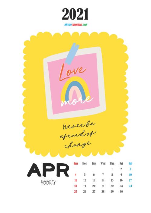 Free Cute Calendar Printable April 2021