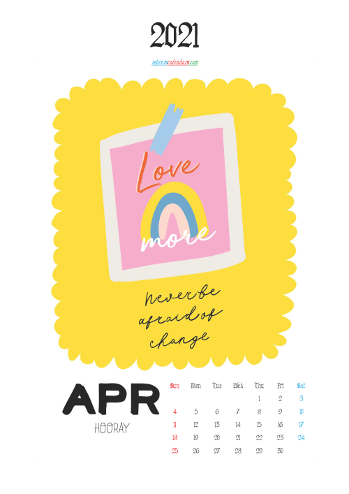 Calendar for Kids Printable April 2021