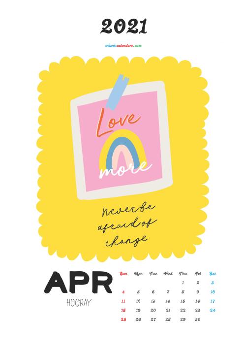 April 2021 Calendar for Kids Printable