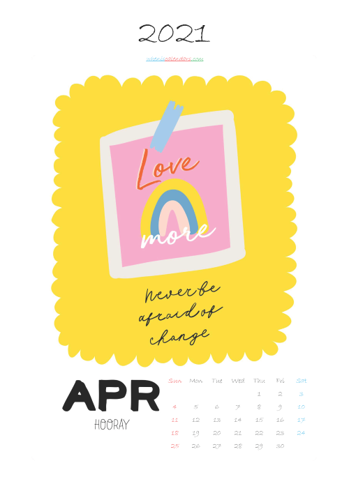 April 2021 Calendar Printable for Kids