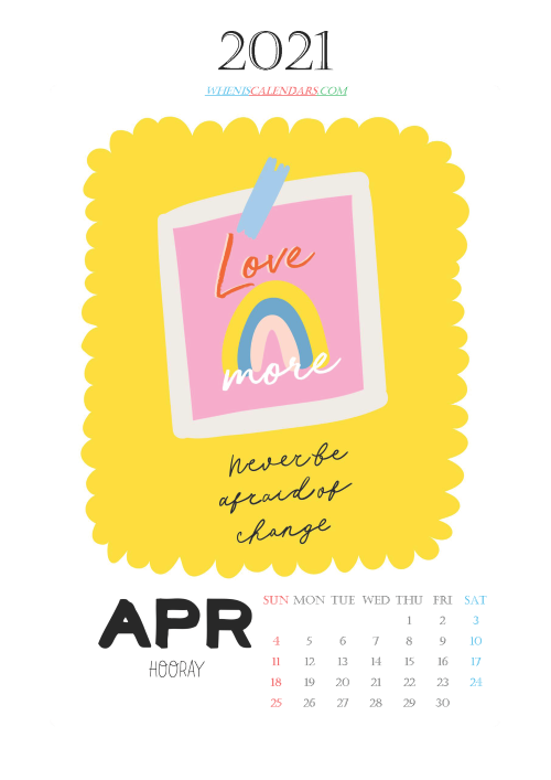 Free Calendar for Kids Printable April 2021