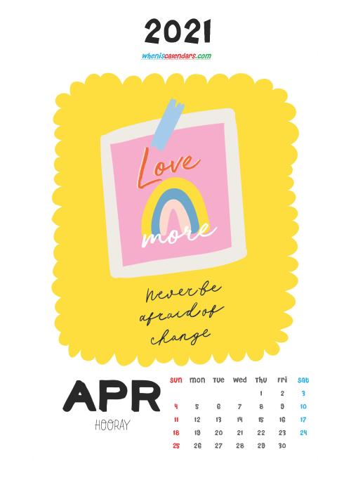 April 2021 Calendar Printable for Kids
