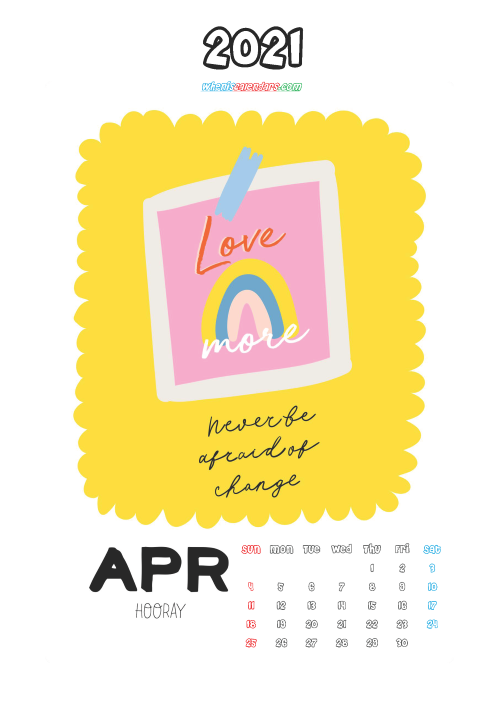 Cute Calendar Printable April 2021