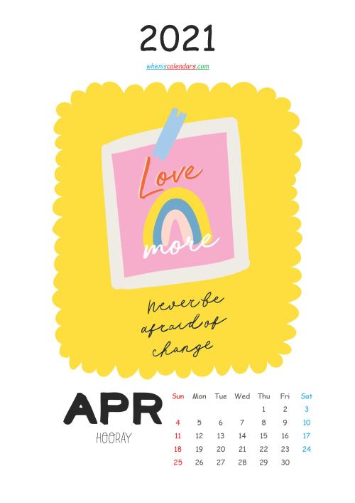 Free Calendar for Kids Printable April 2021