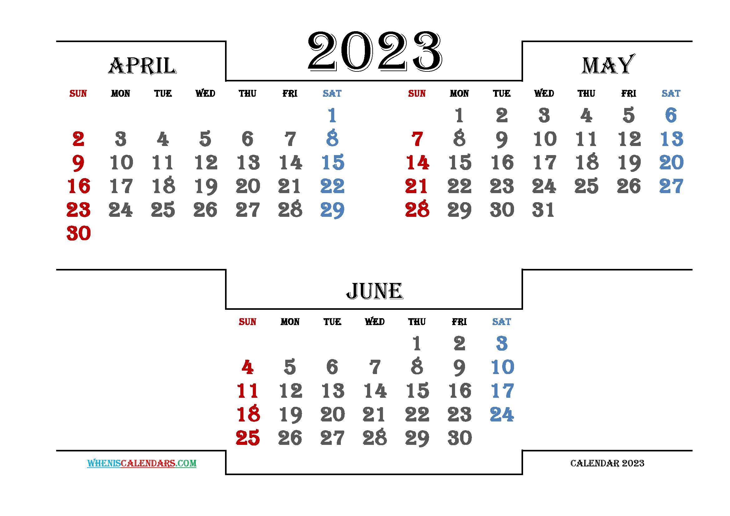 Free April May June 2023 Calendar Printable