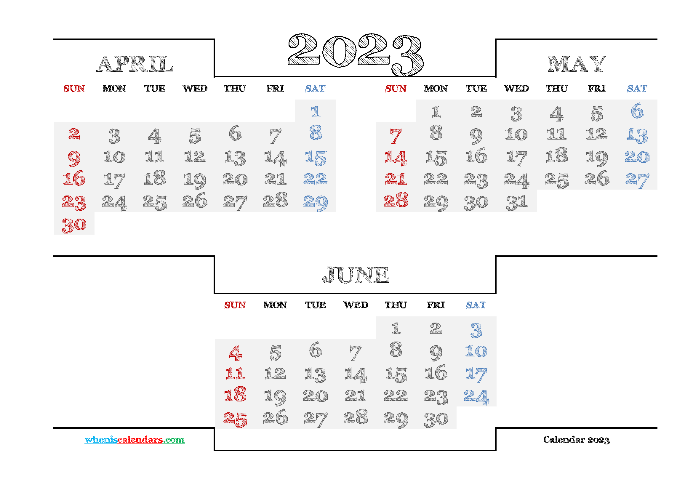 April May June 2023 Printable Calendar Free
