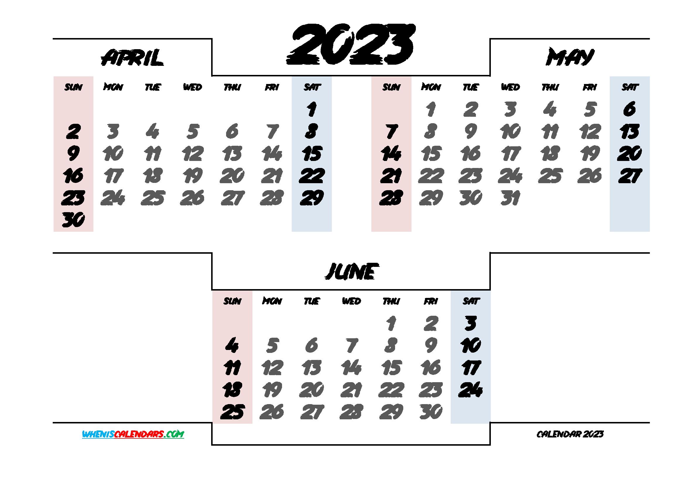 April May June 2023 Calendar Printable
