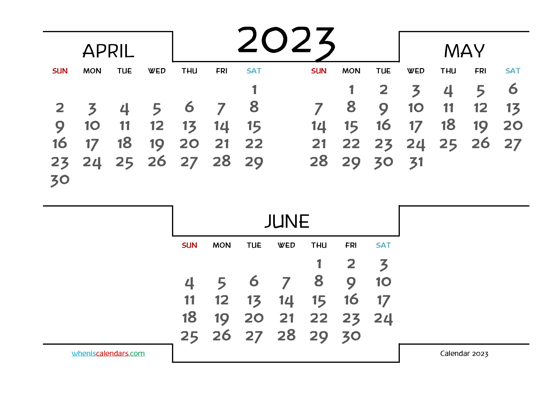 Printable April May June 2023 3 Month Calendar