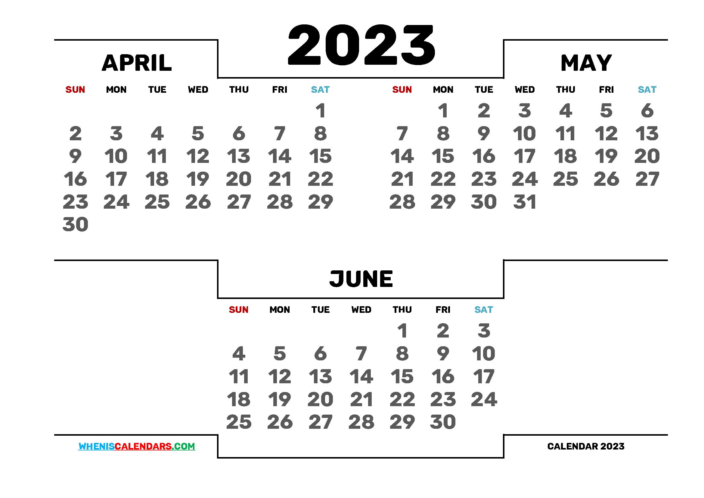 April May June 2023 Printable 3 Month Calendar