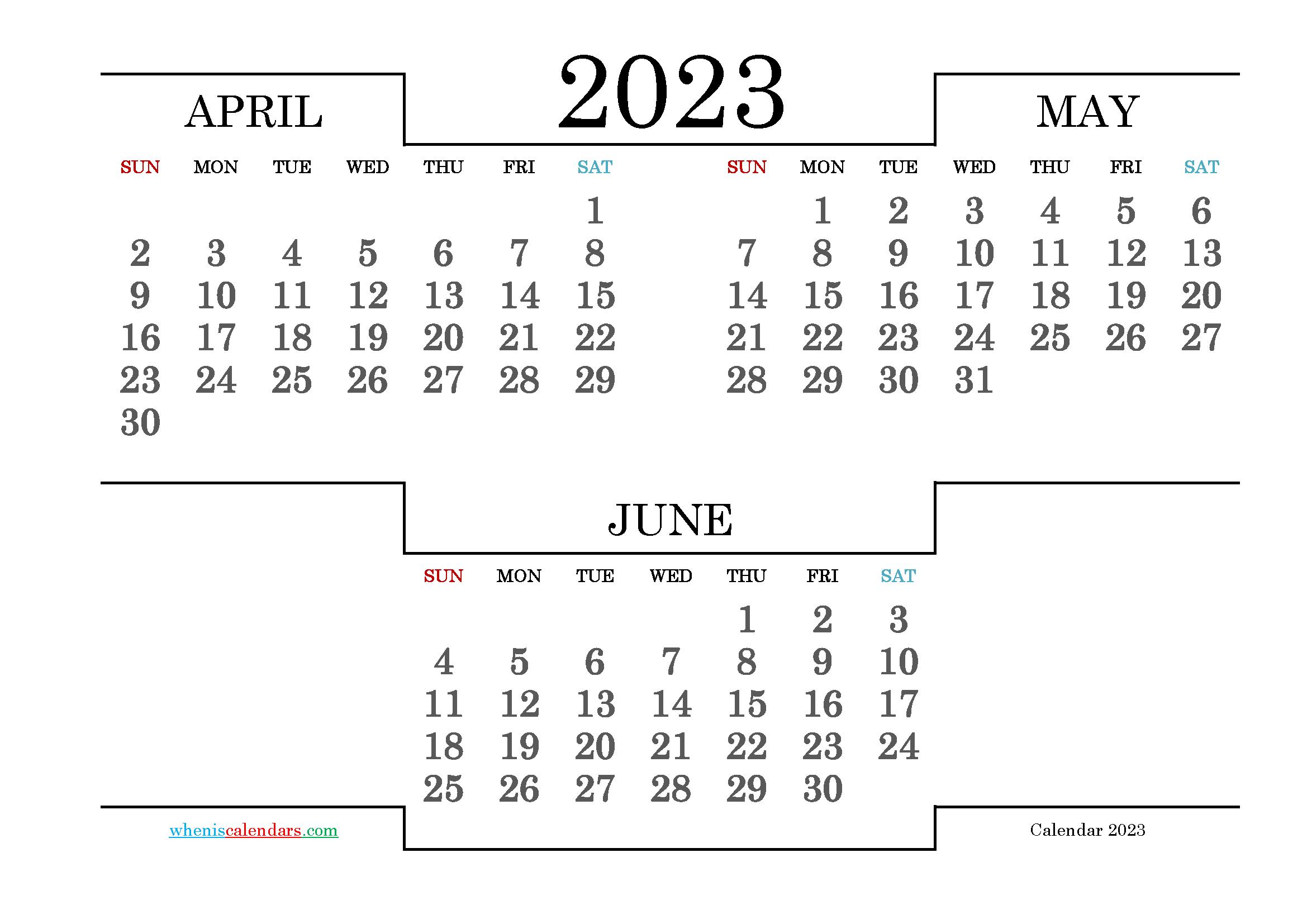 Calendar April May June 2023 Printable
