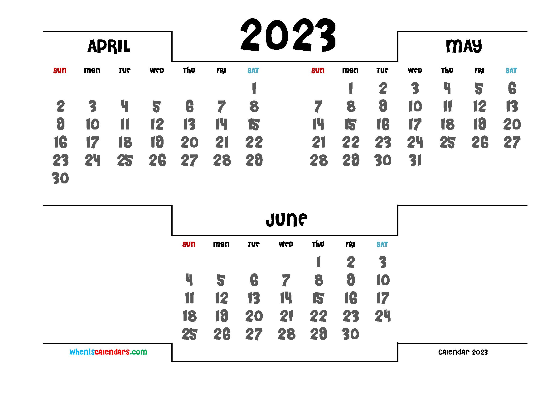 Printable April May June 2023 Calendar