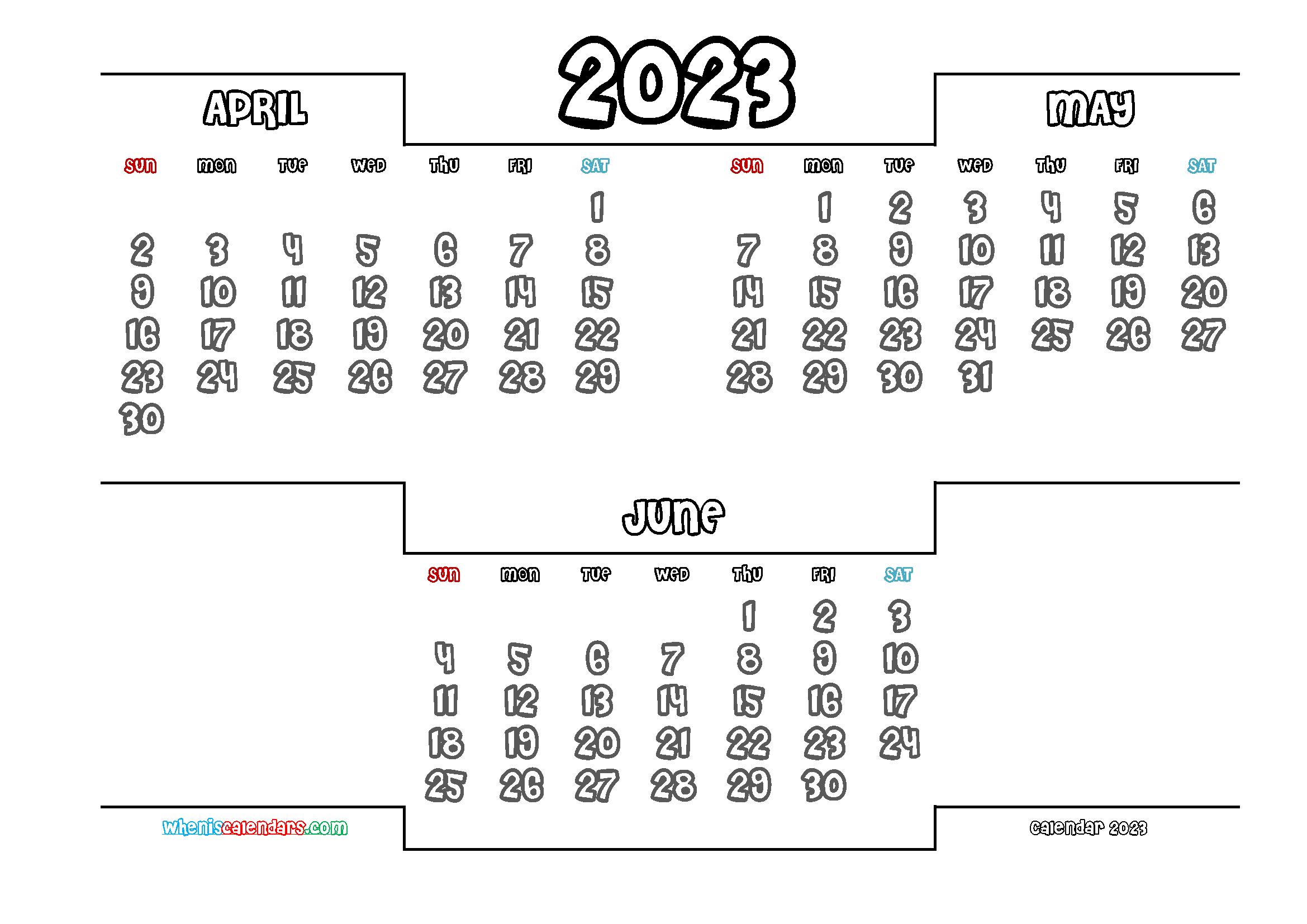 April May June 2023 Three Month Calendar