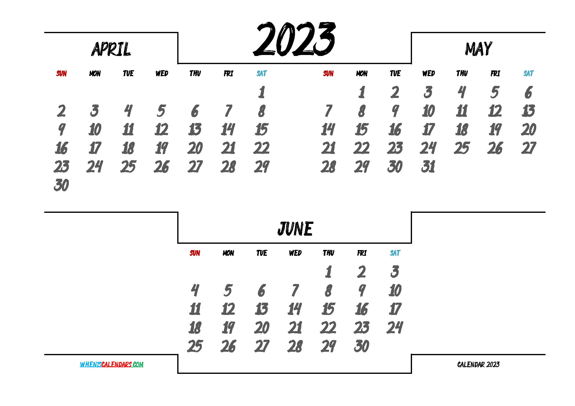 April May June 2023 Printable Calendar