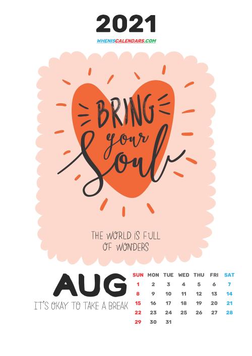 Free August 2021 Calendar for Kids Printable