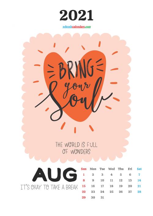 Free August 2021 Cute Calendar
