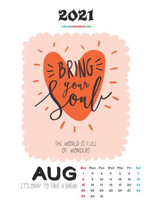 August 2021 Calendar for Kids Printable
