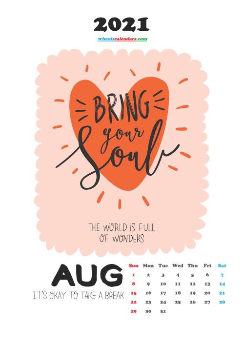 August 2021 Cute CalendarPrintable