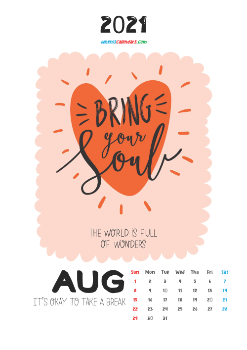 August 2021 Calendar for Kids Printable