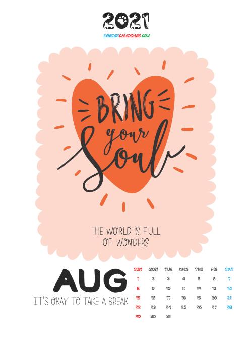 Free Calendar for Kids Printable August 2021
