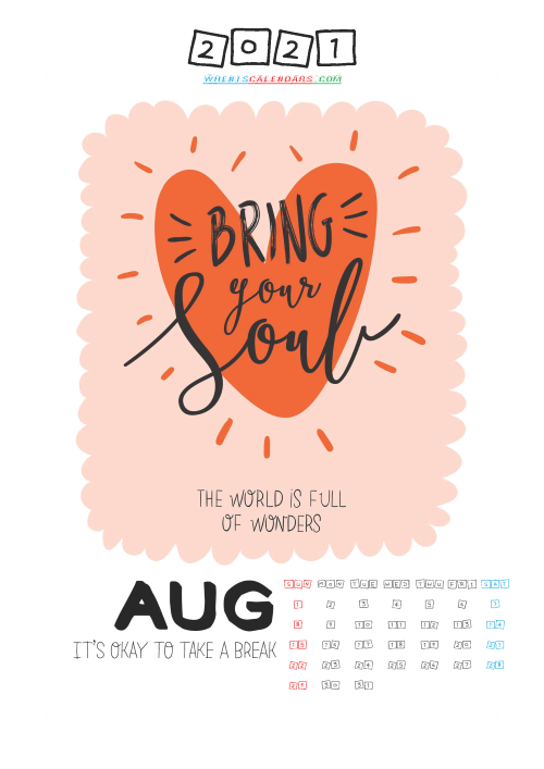 Free August 2021 Calendar for Kids Printable