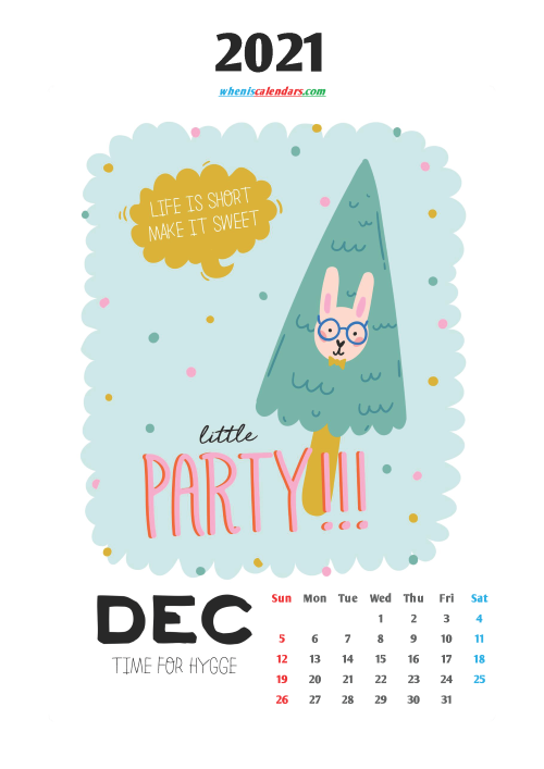 Calendar for Kids Printable December 2021