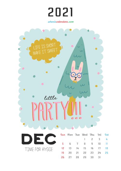 Free Calendar for Kids Printable December 2021