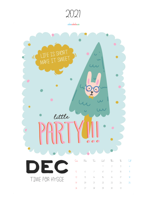 Free Cute Calendar Printable December 2021
